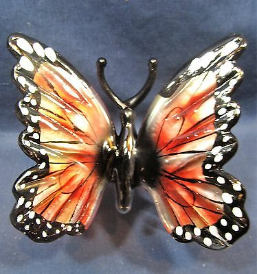 Butterfly hand blown glass insect figurine burgundy/black wings