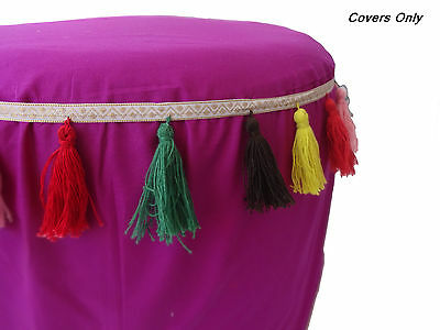 multicolor Tassels footstool ottoman ottoman plain soft round pouffee COVER