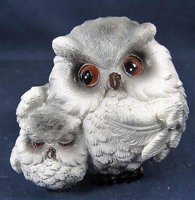 Owl with baby 2 inch Gray whimsical figurine (C)