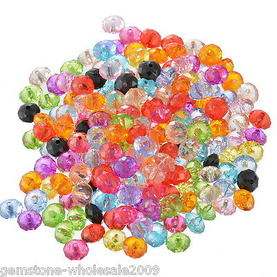 """Wholesale Lots Mixed Faceted Rondelle Acrylic Spacer Beads 10x7mm(3/8""""x2/8"""")"""