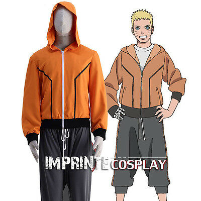 The Last Uzumaki Naruto Orange Hoodie Jacket Cosplay Costume Full Set FREE P&P