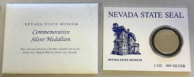 2009 Silver Carson City Nevada State Museum 999 Fine Blank Planchet Medal Type 1