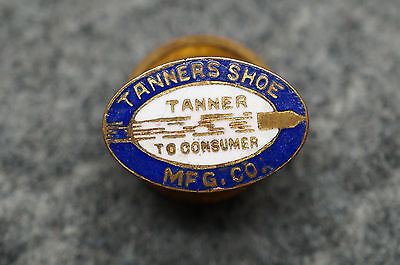 Vintage Advertising tanners Shoe Gold Filled & Enamel Button