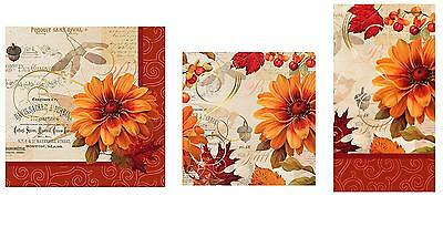 C.R. Gibson Fall Thanksgiving Kitchen Dining Party Paper Napkins – Fall Flowers
