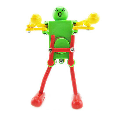 727Q4 Practical Durable Kids Yellow Green Red Plastic Wind up Dancing RobotToy