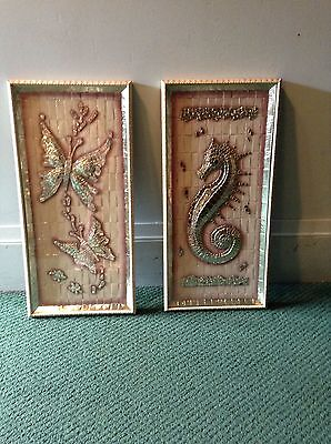 Vtg Pair Mosaic Sea Horse Butterfly Pictures Hollywood Regency Philippe 20 X 10
