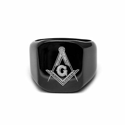 Personalised Masonic Black Steel Ring Initials & Lodge Number with Gift Box