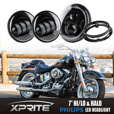 "7"" 60W LED Black Headlight Spot Passing Light with Bracket for Harley Motorcycle"