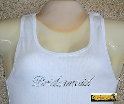 """BRIDESMAID"" White Tank Top American Apparel Shirt Wedding Junior Womens Size"