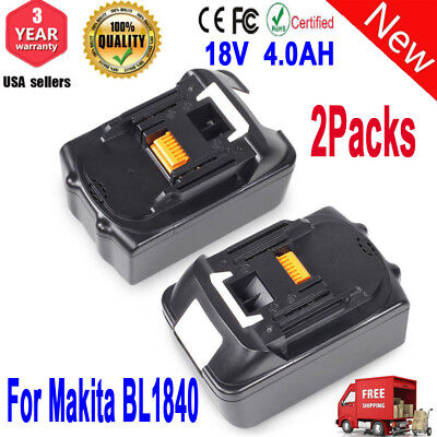 2 X 18V 4.0Ah Lithium Ion Battery LXT For Makita BL1830 BL1815 Pack LXT400 Lot