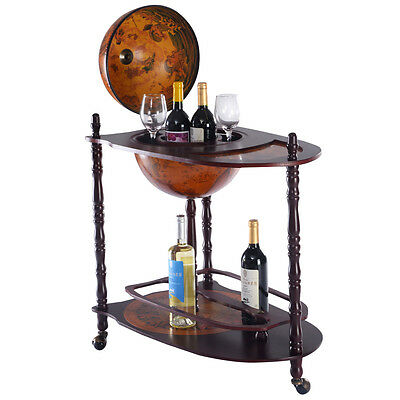 New Globe Shaped Mini Bar Trolley With Table Drinks Wooden Cabinet Bottles 330MM