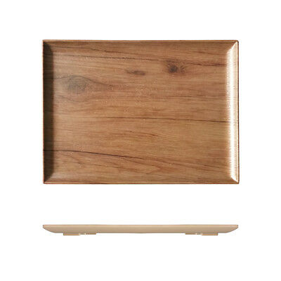 3x Melamine Wood-Look Tray Plate with Lip 400x300mm Ryner Serving Timber Style