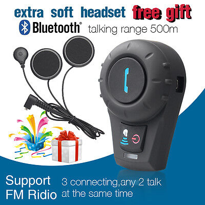 BT Motorcycle Helmet Bluetooth Intercom Headset 3Riders Communication 500m FM