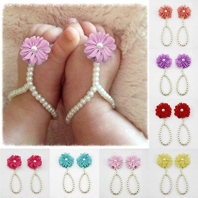 Newborn Baby Girl Infant Barefoot Flower Pearl Foot Ring Sandals Shoes Footwear