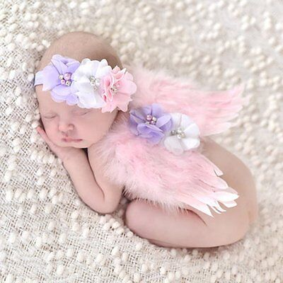 Newborn Baby Flowers Headband+Angel Wings Costume Photo Photography Prop Outfits