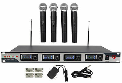 Rockville RWM4200VH VHF Wireless Quad HandHeld Microphone System w LCD Display!