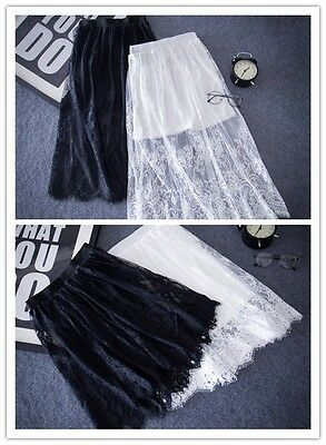 Sexy Women Lace Dress Half Hollow Out Underskirt A Line Petticoat Safety Skirt