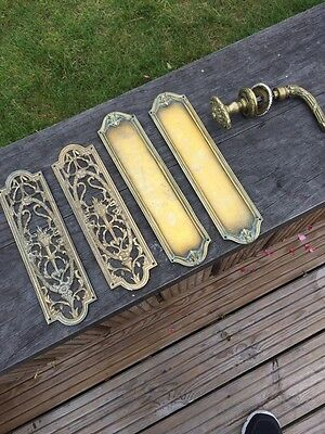 Regency Brass Double Door Handles Push Plates Pull Push Period Old Antique Old
