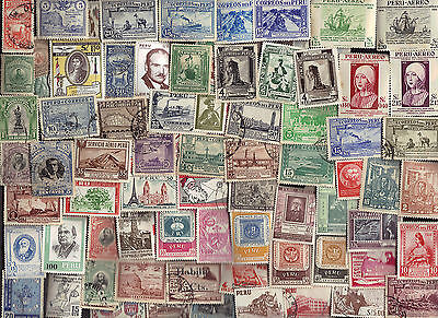 250 All Different  PERU  STAMPS Pics & Comms
