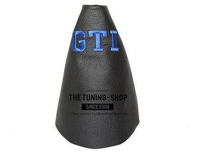 "For Vw Golf 5 03-09 Gear Stick Gaiter Leather Blue ""gti"" Edition Embroidery"
