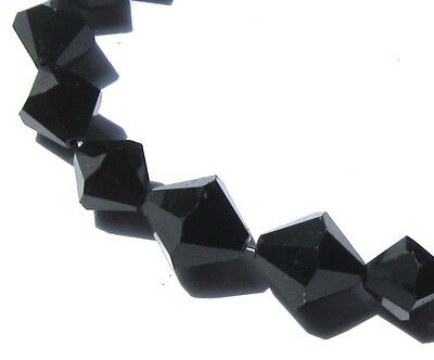 20 Beautiful Old Graduated Black Faceted Bicone Victorian Antique Beads