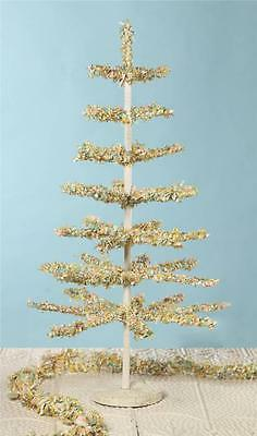 """Bethany Lowe 30"""" Pastel Color Paper Fringe Tabletop Tree with Tin Base"""