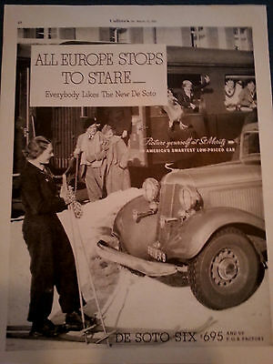 1933 Chrysler DeSoto Six Car Europe Stops to stare at St. Moritz Original Ad