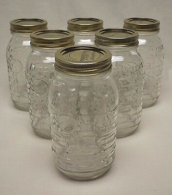 Longaberger Blue Ribbon Collection Set of 6 - 1 Quart Canning Jars New in Box