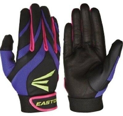 EASTON Synergy II Adult Small Softball Batting Gloves Purple/Pink/Black NEW