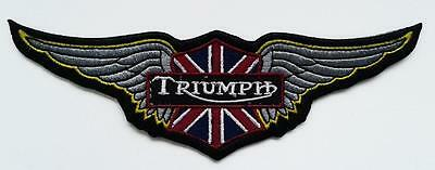 TRIUMPH WINGS LOGO IRON ON EMBROIDERED PATCH 15cm x 5CM BIKE VEST JACKET