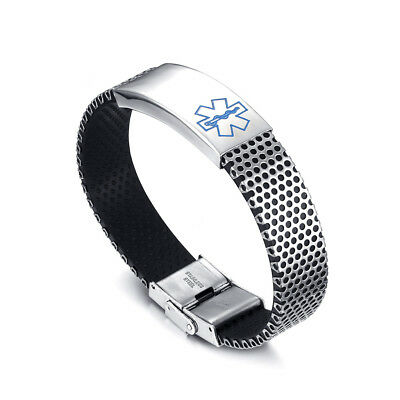 Engraving Emergency Blue Alert Medical ID Stainless Steel Bracelet