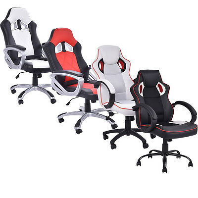 Executive Office Sports Racing Gaming Computer Faux Leather Chair Adjustable
