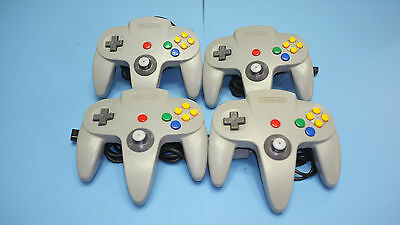 Nintendo 64 4 Official Controllers Control Pads Grey Set