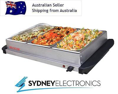 Maxim Stainless Steel Electric 3x 2L Tray/ Hotplate Buffet Food Warmer Server