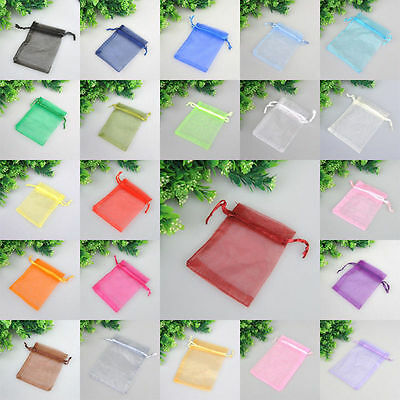 100 Organza Drawstring Gift Jewelry Bags Pouches For Wedding Xmas Party Favour