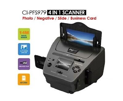 NEW 4-in-1 Photo/Negative/Slide/Business Card Scanner Colour LCD & Photo Editing