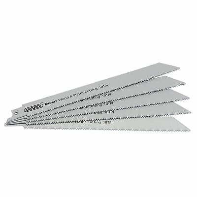 Draper 5 x 250mm 10TPI Bi-Metal Reciprocating Saw Plastic Cutting Blades - 02304