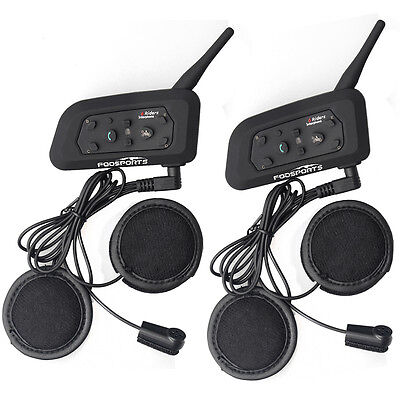 2x V6-1200M Bluetooth Interphone BT Motorcycle Helmet Intercom+flex wire headset