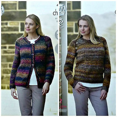KNITTING PATTERN Ladies Easy Knit Long Sleeve Cardigan & Jumper Chunky 4660