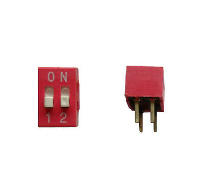 20pcs DIP Switch 2 positions ~ 12P Red 2.54mm Pitch Through Hole DIY