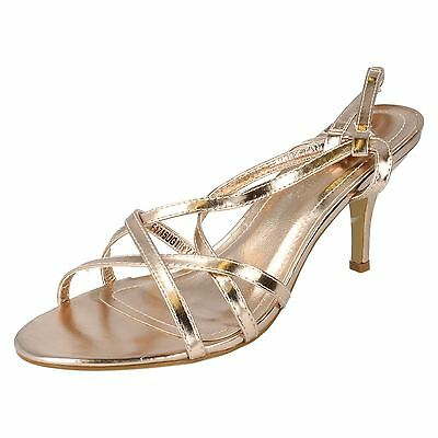 Spot On Ladies F1R715 Champagne Metallic Strappy Sandal UK3 to 8 (R11A)