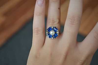 """Art Deco Pearl Ring with Diamonds Blue Stones Flower 10k White Gold """" Kimberly """""""