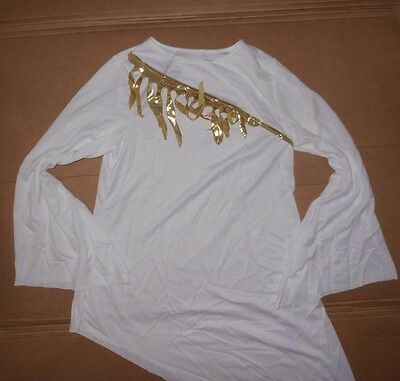 NWOT Praise top Liturgical Asymmetrical Top White Gold Flyers Ladies size Small