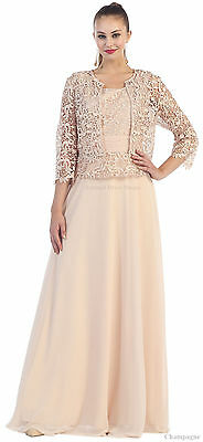 SPECIAL OCCASION MOTHER of GROOM GOWN EVENING DRESS W/ JACKET CHURCH & PLUS SIZE