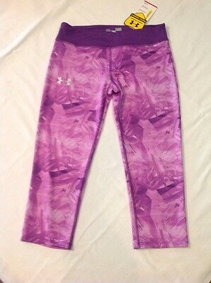 Girls Under Armour HeatGear Anti Odor Capri Leggings Pants Purple LG NWT $35
