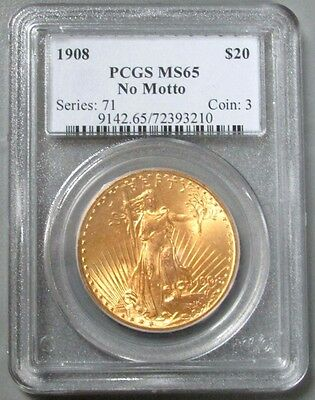 1908 Gold $20 St Gaudens No Motto Pcgs Mint State 65