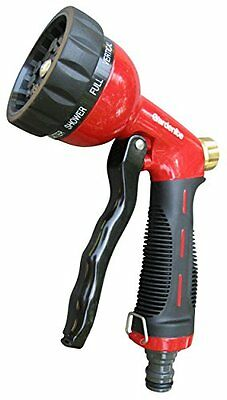 10 pattern garden watering metal hose nozzle with high pressure pistol - red