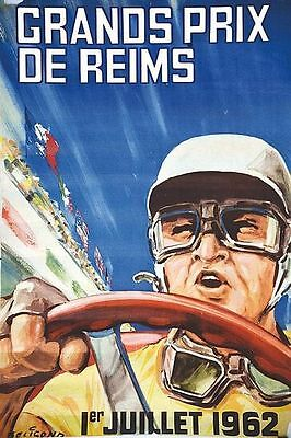 Vintage 1962 Reims French Grand Prix Motor Racing Poster  A3 Print