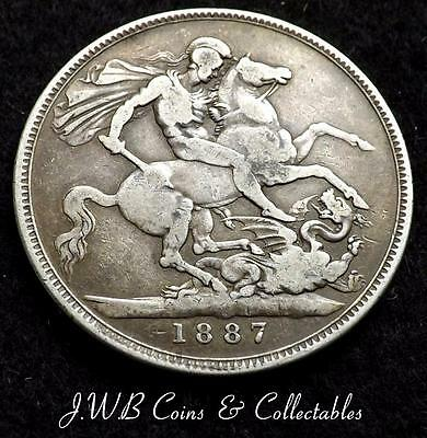 1887 Queen Victoria Jubilee Head Silver Crown Coin - Great Britain