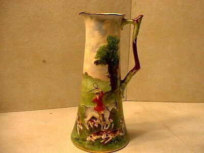 Vintage Royal Doulton Tall Betteley Hand Painted Pitcher with Hunt Scene